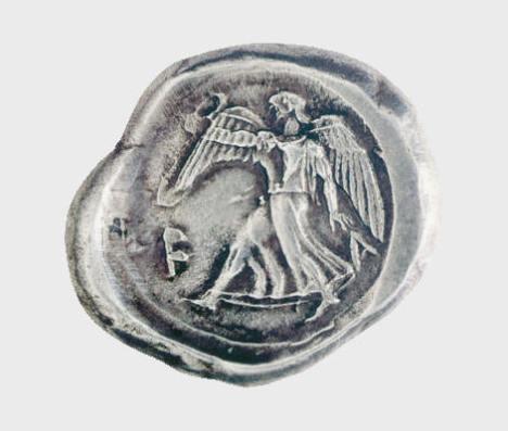 Αργυρός στατήρ Ήλιδος, μέσα 5ου αι. π.Χ. Νομισματικό Μουσείο, Αθήνα. Η Νίκη σε έντονη κίνηση, κρατά στεφάνι, το τιμητικό έπαθλο των νικητών στους αθλητικούς αγώνε