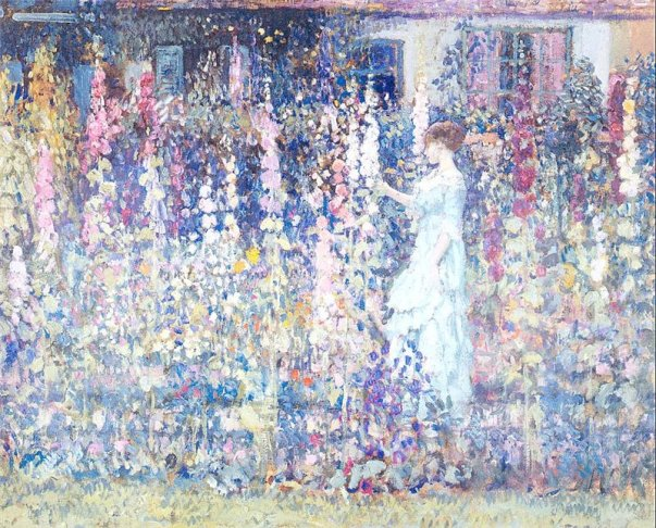 Frederick C. Frieseke - Hollyhocks