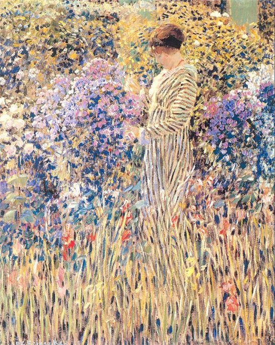 Frederick Carl Frieseke - Lady in a Garden
