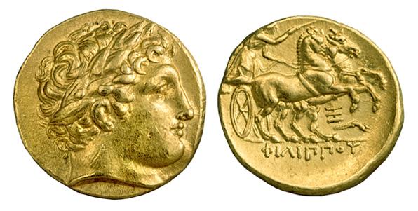 Φίλιππος Β' Μακεδονίας Χρυσός στατήρ, 359-336 π.Χ. Κεφαλή Απόλλωνος/ ΦΙΛΙΠΠΟΥ. Ηνίοχος οδηγών συνωρίδα