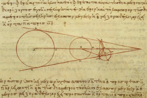 Μελέτη του Αρίσταρχου περί μεγέθους της γης, του ήλιου και της σελήνης (αντίγραφο του 10ου αι.)
