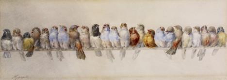 'A Perch of Birds' (circa 1880's). Watercolour by Hector Giacomelli (1822-1904).