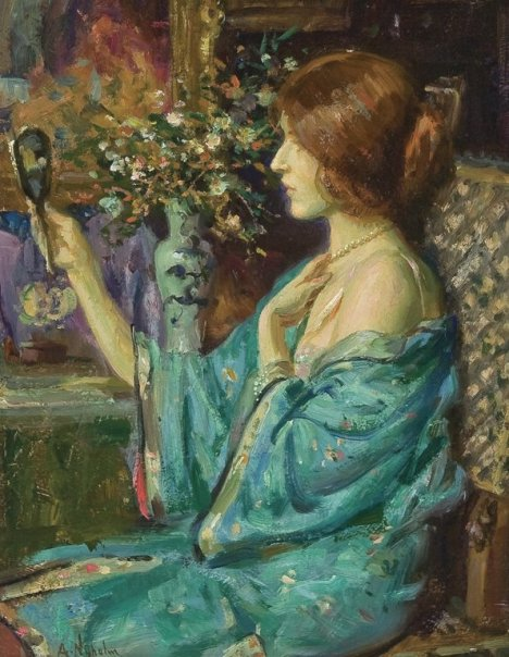 Arvid Frederick Nyholm (1866-1927) - Woman Seated at Her Vanity