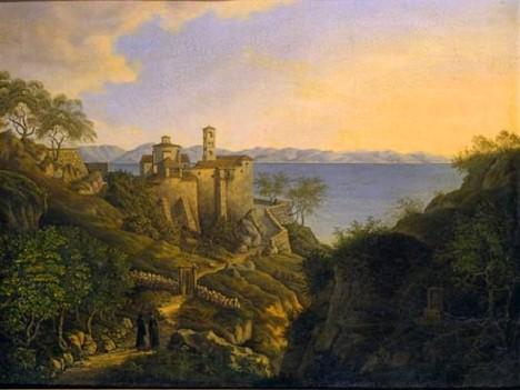 «Άποψη του Πόρου', ελαιογραφία πιθανώς φιλοτεχνημένη από Γερμανό ζωγράφο. 1828. 0,49 x 0,65 μ. Δωρεά Δαμιανού Κυριαζή (ΓΕ 11193)