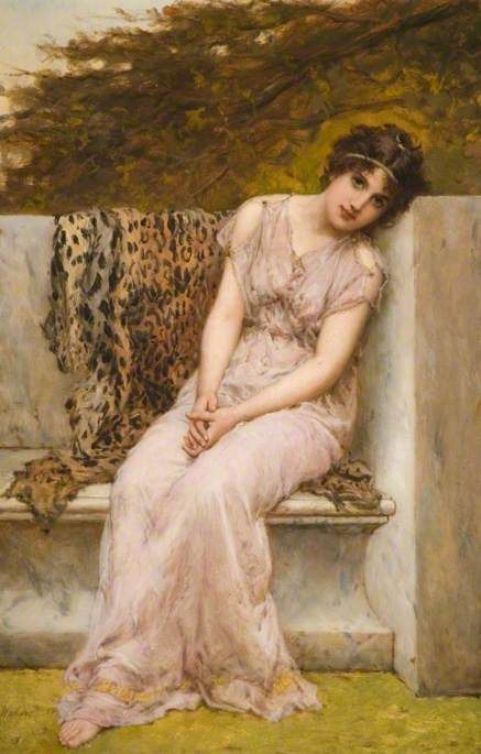 William Oliver (1867-1882) - Portrait of a Young Woman Sitting on a Marble Seat