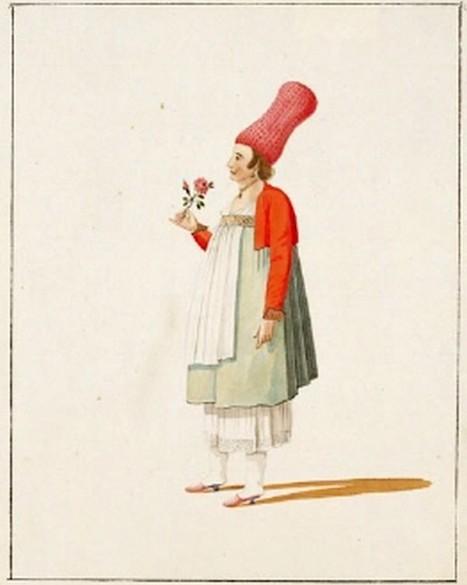 Υδατογραφία άγνωστου περιηγητή που εικονογραφεί τη γυναικεία ενδυμασία της Χίου τον όψιμο 18ο ή τον πρώιμο 19ο αι.