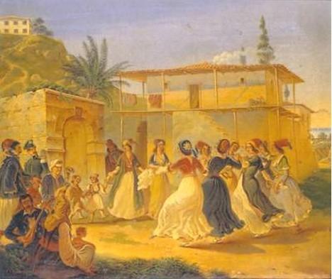 «Χορός», ελαιογραφία με τα αρχικά G.v.Gr. του γερμανού ζωγράφου που τη φιλοτέχνησε. Μέσα 19ου αι. 0,28 x 0,33 μ. Δωρεά Δαμιανού Κυριαζή (11181)