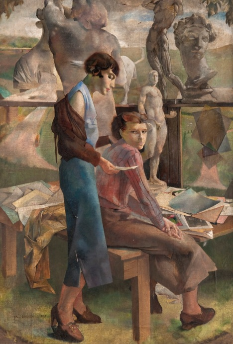 Interested and Disinterested (c.1939-1940). John Laurie (Scottish, 1916-1972). Oil on canvas. The Glasgow School of Art.