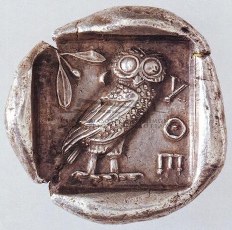 Αργυρό τετράδραχμο Αθηνών, 440-420 π.Χ. Οπισθότυπος  Γλαύκα Αθήνα